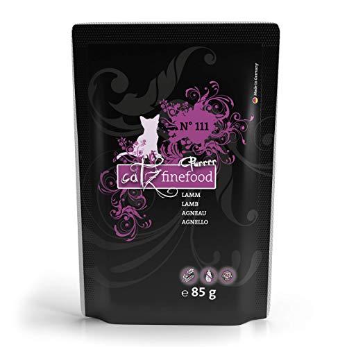 catz finefood Purrrr Lamm Monoprotein Katzenfutter nass N° 111, für ernährungssensible Katzen, 70% Fleischanteil, 16 x 85 g Beutel