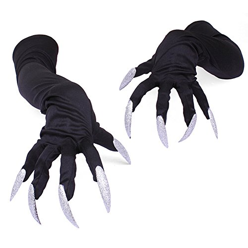 BEESCLOVER Milch Seide Handschuh Halloween Party Cosplay Requisiten Handschuhe Lange Nägel Klaue Punk Performance dünne Handschuhe Manschetten