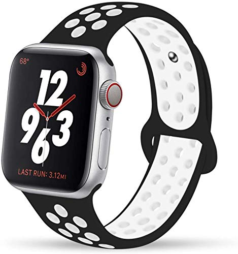 VIKATech Compatible Cinturino per Apple Watch Cinturino 40mm 38mm, Due Colori Morbido Silicone Traspirante Cinturini Sportiva di Ricambio per iWatch Series 5/4/3/2/1, S/M, Nero/Bianco