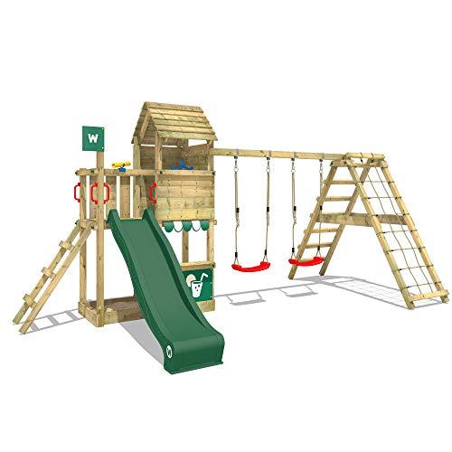 WICKEY Parque infantil de madera Smart Port con columpio y tobogán verde Área de juegos da exterior, Escalera Sueco con arenero y pared de escalada para niños