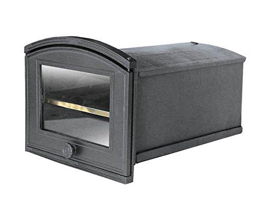 Tradehub Backröhre Backkasten Backofen Ofen Pizzaofen Brotbackofen Holzofen Steinofen aus Gusseisen mit abnehmbares Fach und Ofenscheibe | Außenmaße: 320x240 mm | Öffnungsrichtung: rechts