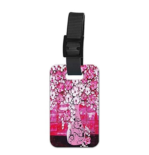 Ramo de flores de cerezo en China Paleta de cuchillo etiqueta para equipaje etiqueta con nombre y tarjeta de identificación, a la moda, etiqueta de identificación personalizada, para equipaje perfecto para detectar rápidamente maletas
