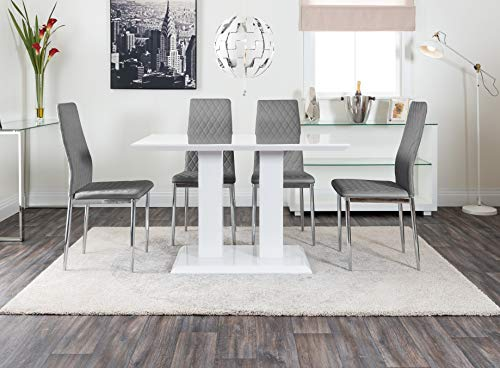 Furniturebox UK Imperia Modern White High Gloss Dining Table And 4 Stylish Contemporary Milan Dining Chairs Set (Dining Table + 4 Grey Milan Chairs)