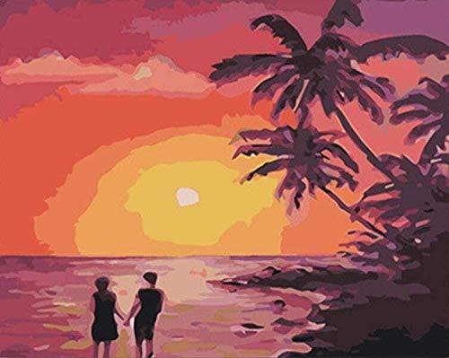 Digitale Malerei Moderne Dekorationen Geschenk f¨¹r Kunstwerke Bilder f¨¹r Erwachsene Kinder Leinwand ?lfarbe Malerei - Sonnenuntergang 40x50cm