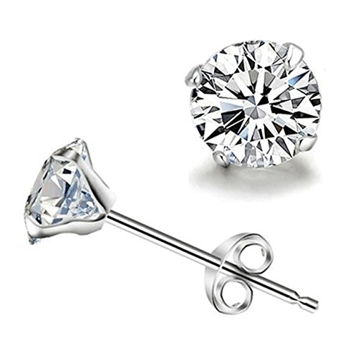 iszie Jewellery Sterling Silver 3-6 MM Classic Round Cubic Zirconia Crystal Stud Earrings-White (4 mm)