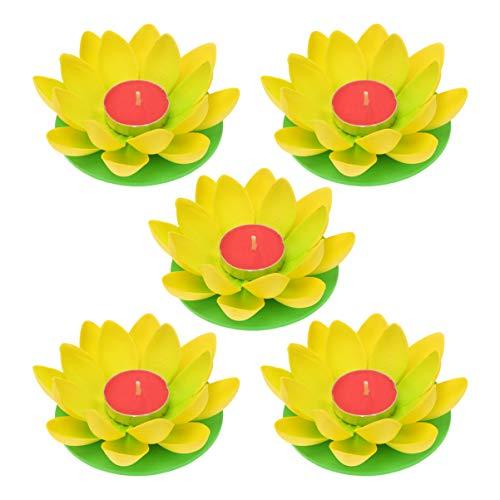 OSALADI Schwimmkerzen Lotus Kerzen Wasserlaterne Künstliche Lotusblüte Seerose Schwimmlaterne Laterne mit Kerze für Pool Teich Garten Hochzeit Party Dekoration Gelb 5 Stück