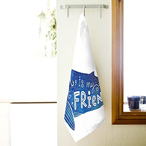 Bath Towels 40 x 70 cm Soft and Absorbent, Kind of Ocean is My Best Friend Quote with Whale Fish Paintbrush Artsy Picture Premium Quality 100% Superfine Fiber Towels (White, Bath Sheet)