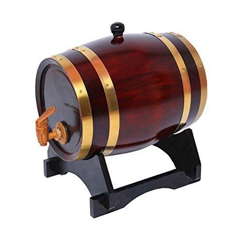 ROSG Dispensador de Barril de Whisky de 5 litros Decantador de Barril de Vino Envejecido de Madera de Roble para Mesa de Servicio Exhibición de Acento en el hogar Almacenamiento de licores,