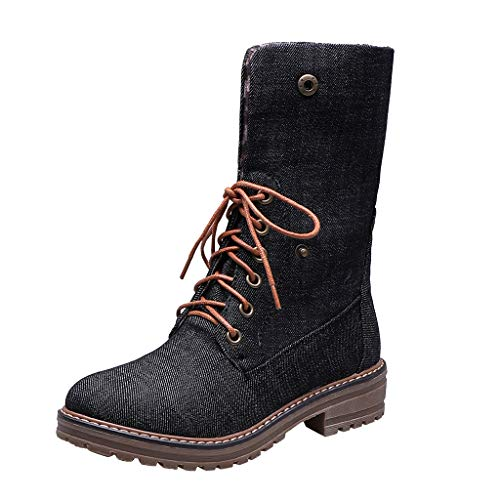 Best Price! Kauneus Womens Novelty Canvas Ankle Booties Round Toe Low Heel Lace Up Mid Calf Boots Tr...