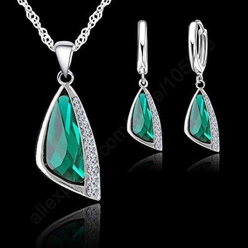 Mujeres Silver Jewelry Conjuntos Cubic Zirconia Collar Colgante Pendientes Pendientes Mujeres Bodas Conjuntos (Color : 1)
