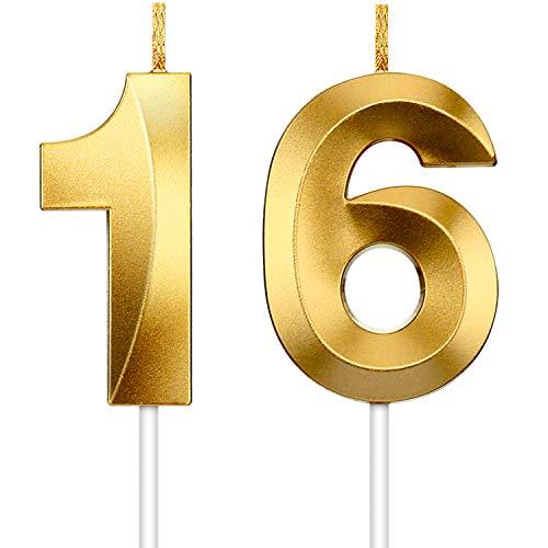 2 Stücke Zahl Kerze Gold Glitzer Kerzen Dekorative Geburtstagstorte Kerzen Geburtstag Kuchen Topper Dekoration für Hochzeit Geburtstag Jubiläum Feier Abschlussfeier(Nummer 16)