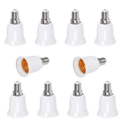 E14 a E27 Adattatore Portalampada, 8 Pz Adattatore Lampadina, E14-E27 LED Lampadina Dello Zoccolo del Convertitore Adapter, per Lampadine Alogene LED a Risparmio Energetico