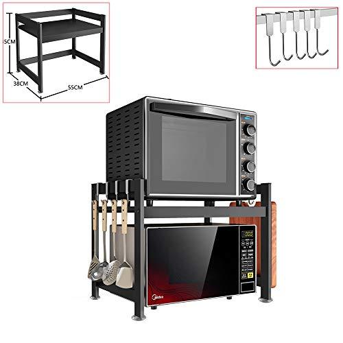 Mikrowellenherd-Rack - Schwere Last Mikrowelle Regal Stand - Kitchen Cabinet Organizer mit 5 Hanging Haken, Non-Slip Saugnapf, für Home Restaurant