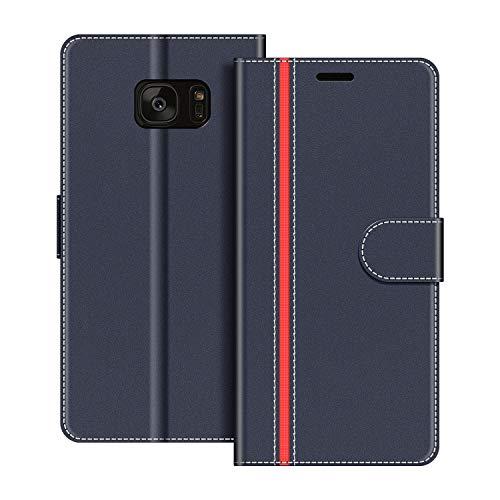 COODIO Handyhülle für Samsung Galaxy S7 Edge Handy Hülle, Samsung Galaxy S7 Edge Hülle Leder Handytasche für Samsung Galaxy S7 Edge Klapphülle Tasche, Dunkel Blau/Rot