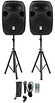 """Rockville RPG122K Dual 12"""" Powered Speakers, Bluetooth+Mic+Speaker Stands+Cables from ROCKVILLE"""