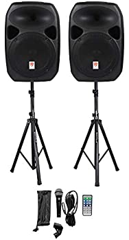 Rockville RPG122K Dual 12  Powered Speakers Bluetooth+Mic+Speaker Stands+Cables