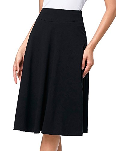 Kate Kasin Flared Stretchy Midi Skirt High Waist Jersey Skirt for Women (XXX-Large, Black)