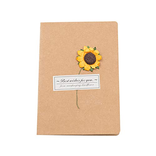 Oppal Kraft Paper Dried Flower Greeting Card Holiday Universal Wishes, Decoration & Hangs for Easter Day (C)