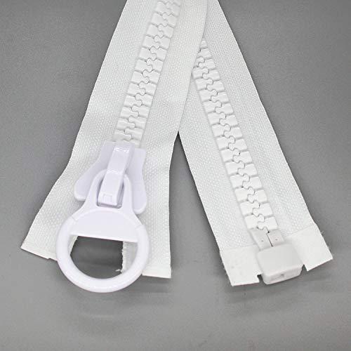 Cremalleras de plástico gigantes # 20 de 150 cm para coser, cremalleras de separación para tiendas de campaña, abrigos, chaquetas de plumón, lona para cubierta de barco,blanco Leekayer