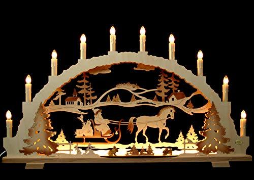 Schwibbogen Weihnachtsmann auf Schlitten mit Pferd - Handarbeit Erzgebirge