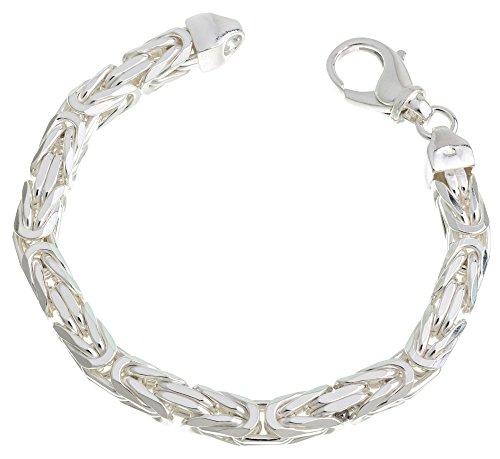 Massives Königskette Armband 8mm Breite - 925 Silber, Länge 21cm