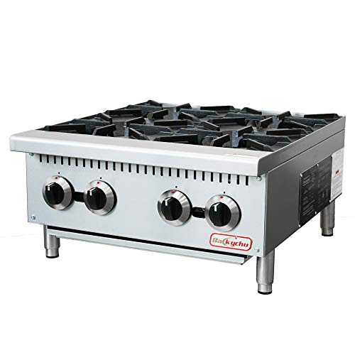 Backychu 4 Burner Commercial Hot Plate Countertop Range Natural Gas with Liquid Propane Conversion Kit, 24 Inch, 100,000 BTU