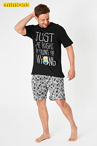 Minions Pijama Hombre Verano, Conjunto Verano Hombre, Ropa Hombre de Algodón S-3XL (Negro, L)