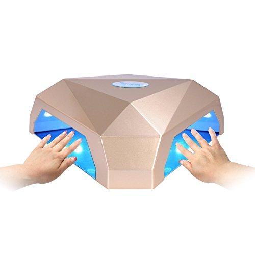 """Secador de Uñas, Erosway Lámpara led uñas de 60w, curación dos manos a la vez, temporizador 5""""-120"""" y sensor de infrarrojos. Cura los geles de uñas LED y UV. Provisto de nchufe de la UE.(Dorado)"""