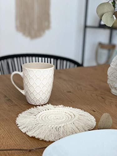 WÖLKCHEN DESIGN - 2er Set Makramee Untersetzer Boho Stil, Reine Handarbeit, Baumwolle Cup Table Decor