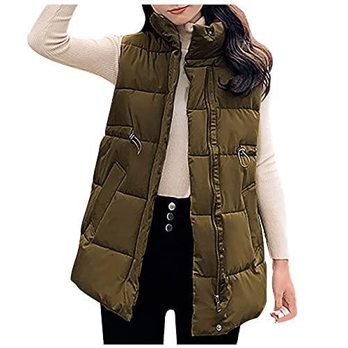 Dasongff - Chaleco de plumón para mujer, abrigo corto de invierno, chaleco de entretiempo, chaleco acolchado sin mangas, chaleco deportivo para mujer