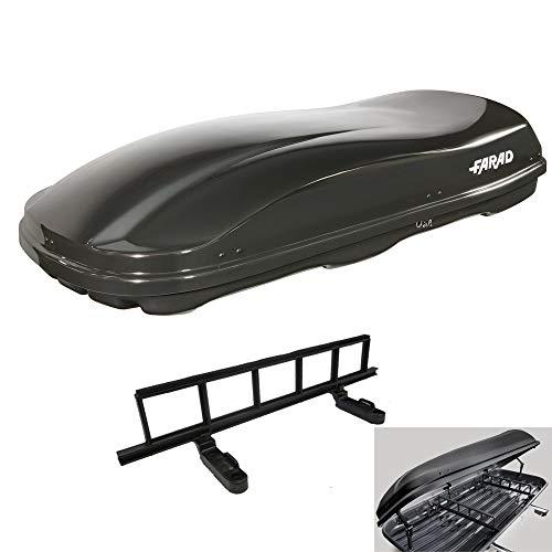 FARAD Dachbox Marlin 680L Metal schwarz + Elastisches Befestigungsnetz