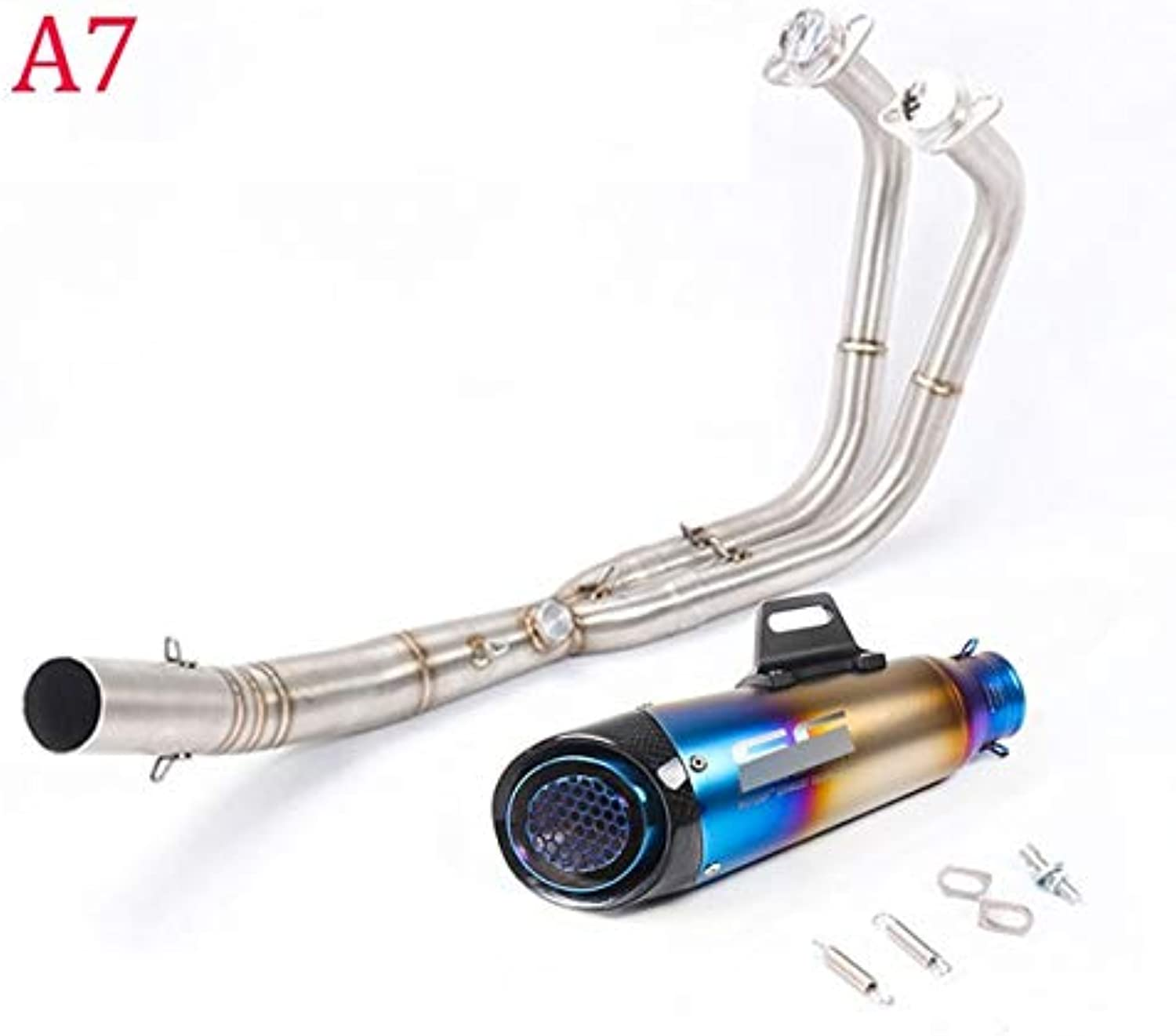 Fincos Slip on for Kawasaki Ninja 400 Full Exhaust System Muffler with Front Middle Connection Link Pipe Carbon Fiber+Stainless Steel