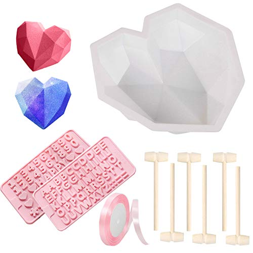 10PCS Diamond Heart Mousse Cake Mold Trays for Baking with Wooden Hammers Silicone Chocolate Dessert Candy Mould Baking Pan for Home Kitchen DIY Tools Valentine's Day (Pink)