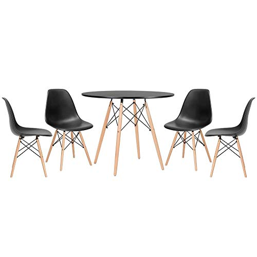 Kit - Mesa Eames 90 cm preto + 4 cadeiras Eames Eiffel Dsw preto