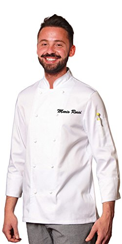 TCD GROUP Ricamo Gratuito Giacca Casacca da Chef Cuoco Bianca SPEDIZIONE Rapida E Gratuita (M, Ricamo Nero)