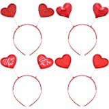 Bememo 4 Pieces Valentine's Day Red Heart Headbopper Glitter Heart Headband for Valentine Party Accessories