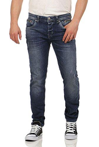 M.O.D heren jeans broek Mason Slim Leg Destroyed Managua blauw donkerblauw buizenjeans