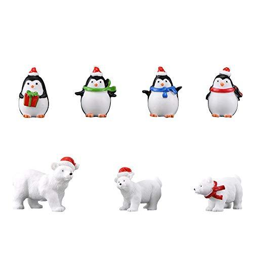 Miniatur Garten Figuren, 7 Stück Kunstharz Gartendeko Süße Tier Eisbär Pinguin Harz Mini Ornamente Set für Fee Garten Deko Bonsai Puppenhaus Sukkulenten Pflanze Dekoration Micro Landschaft DIY Zubehör