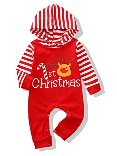 Christmas Outfits Newborn Baby Boys Girls Jumpsuit My First Christmas Striped Long Sleeve Reindeer Hoodie Romper One Piece Fall Clothes Set Unisex (Reindeer Hoodie Jumpsuit, 0-3 Months)