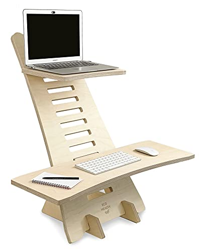 Eco Health Wooden Standing Desk - Quality Adjustable Portable Table Top Desk Sit Stand Ergonomic Computer Office Desk Table Laptop Riser Monitor Stand - Healthy Sustainable Office Desk