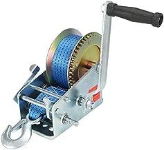 VZCY 3200lbs Capacity Heavy Duty Hand Winch,Nylon Strap Manual Portable Crank Winch for ATV Boat Trailer Truck Auto, Blue