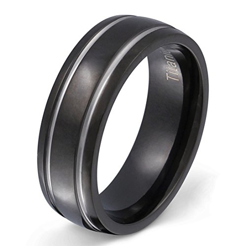 Ein schöner Titanring in Schwarz/Silber, Partnerring, Ehering mit gratis Gravur-60 (19,1)
