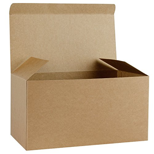 RUSPEPA Cajas De Regalo De Cartón Reciclado - Caja Decorativa Grande con Tapas para Navidad, Cumpleaños, Días Festivos, Bodas - 30.5X15.5X15.5 Cm - Paquete De 10 - Kraft