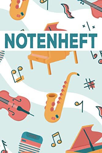 Notenheft: DIN A4 Blanko Notenheft mit Notenlinien Schul Notenheft Musiknoten Selberschreiben Notenbuch Notenblock für Musik Unterricht Hausaufgaben