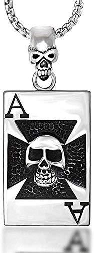NC83 Hombres s personalidad de la moda naipes espadas collar colgante de acero de titanio colgante de calavera dominante