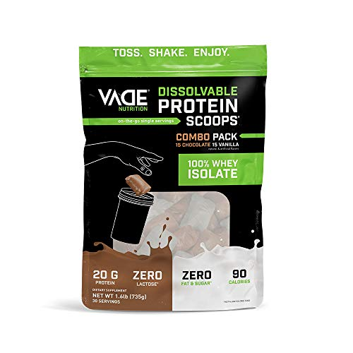 Vade Nutrition Dissolvable Protein Scoops | Chocolate & Vanilla Whey Isolate Protein Powder, On-The-Go, Low Carb, Low Calorie, Lactose Free, Gluten Free, Fat Free, Sugar Free, Lean, Combo 30 Servings