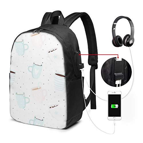 ラップトップバックパック USBポート スクールリュックサック 15.6インチ ラップトップ に適合 ミントバレンタインデーロマンチック