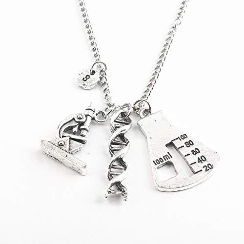 KUHRLRX Auto Keychain Anhänger Halskette Lange Pullover Schlüsselbein Kette Frauen DNA Spiral Mikroskop Dreieck Anhänger Schlüsselanhänger Halskette, Silber Halskette