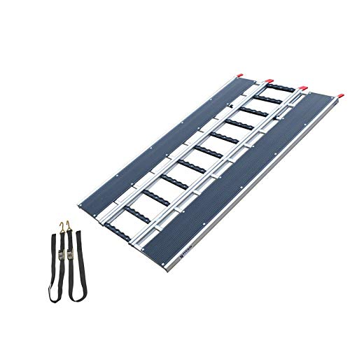 Titan 7-ft-10-in L x 54-in W Aluminum ATV and Snowmobile Ramp with Stud Protectors Tri-fold