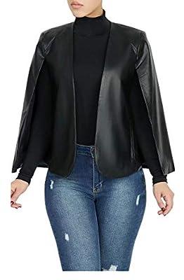 Aro Lora Women's PU Faux Leather Open Front Cape Cloak Poncho Slit Sleeve Short Jacket Coat Blazer XX-Large Black